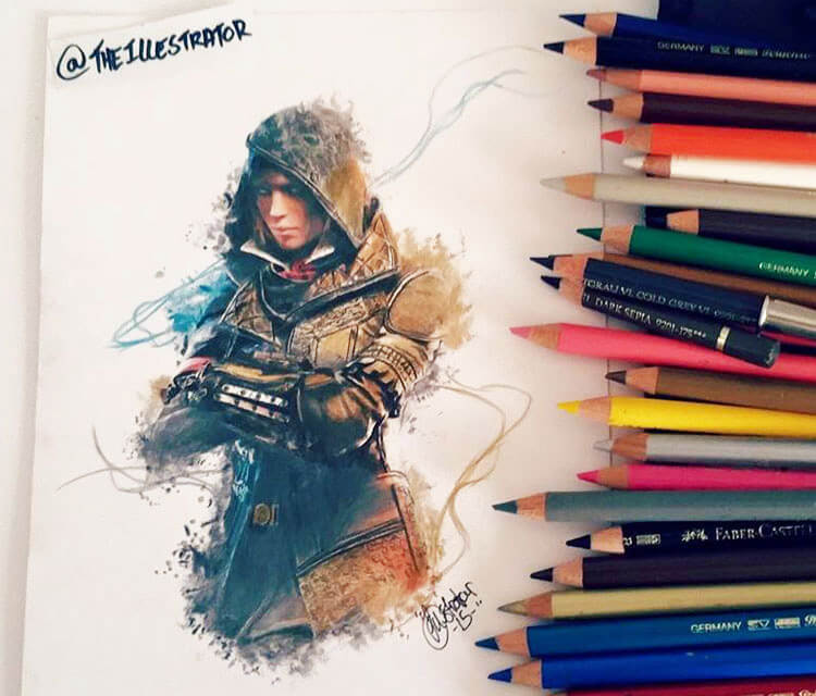Assassins Creed color drawing by The Illestrator