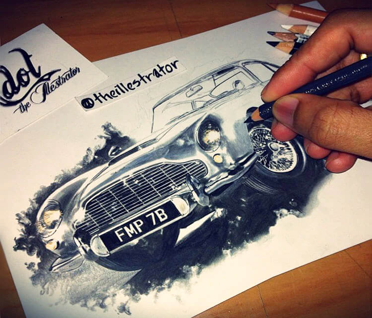 Aston Martin drawing by The Illestrator