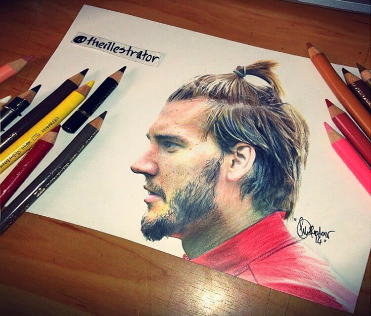 Nicklas Bendtner portrait drawing by The Illestrator