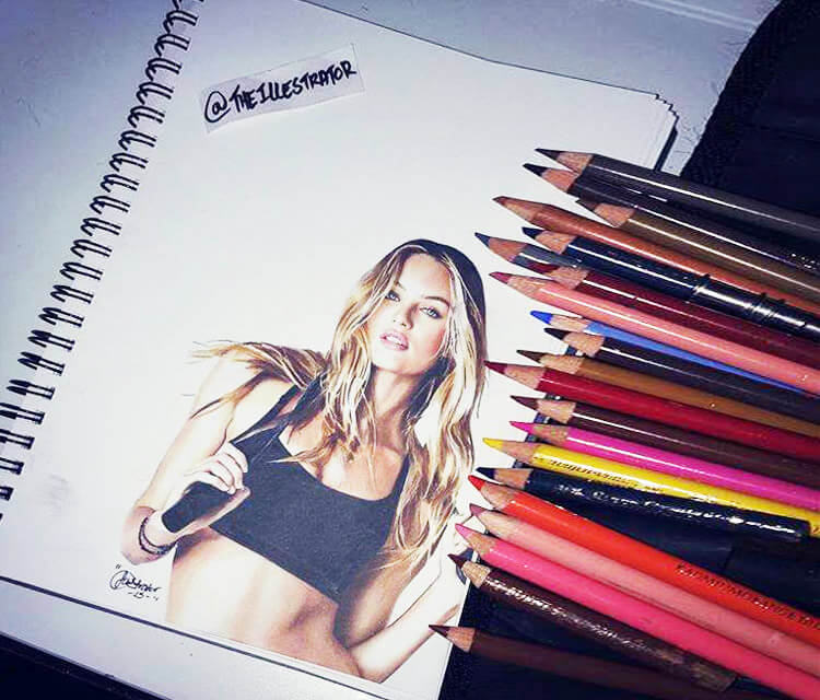 Candice Swanepoel color drawing by The Illestrator