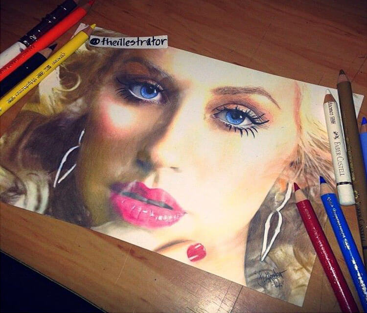 Christina Aguilera drawing by The Illestrator