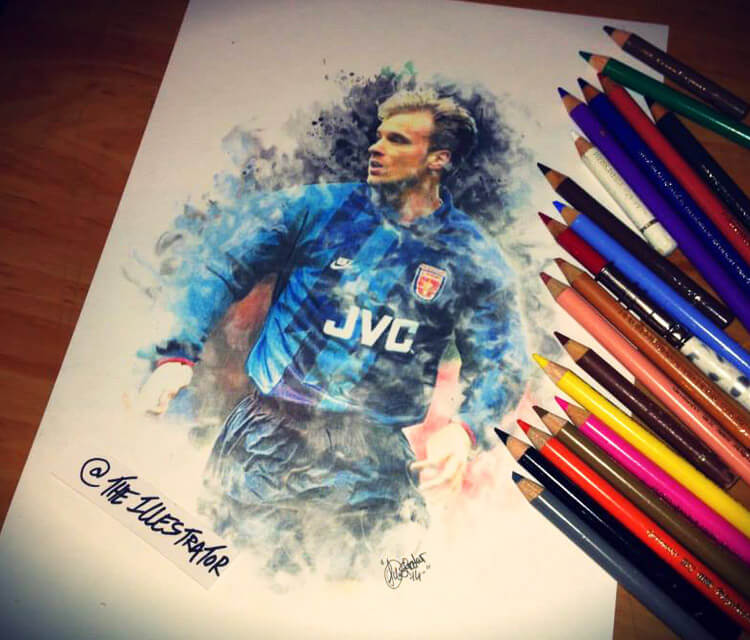 Dennis Bergkamp drawing by The Illestrator