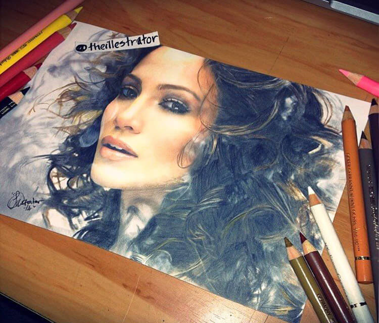 Jennifer Lopez drawing by The Illestrator