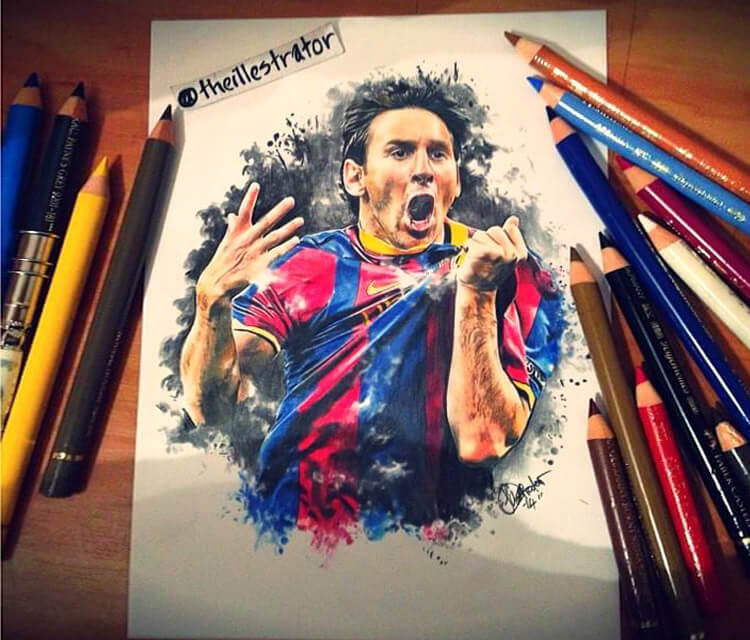 Lionel Messi drawing by The Illestrator