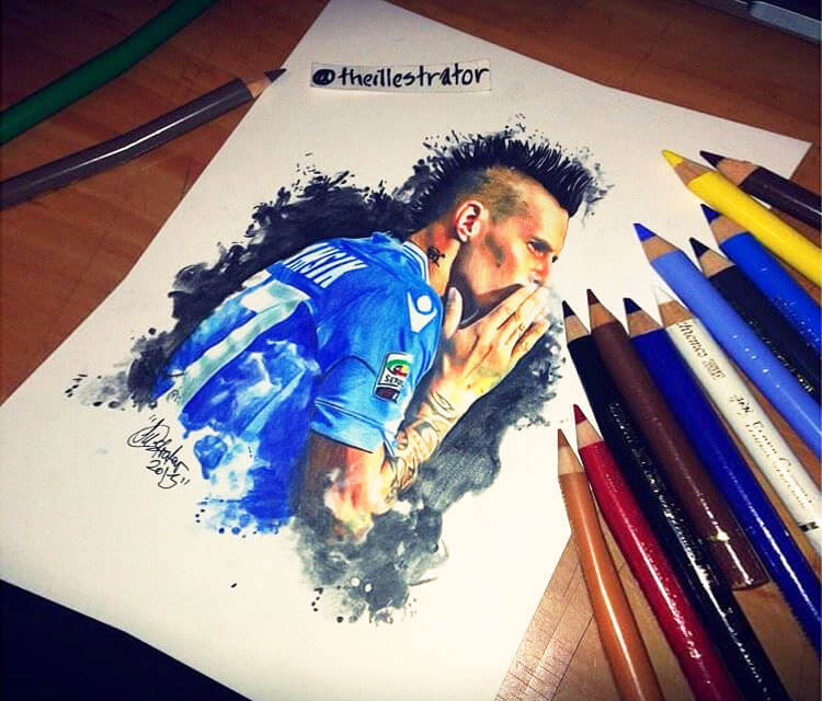 Marek Hamsik color drawing by The Illestrator