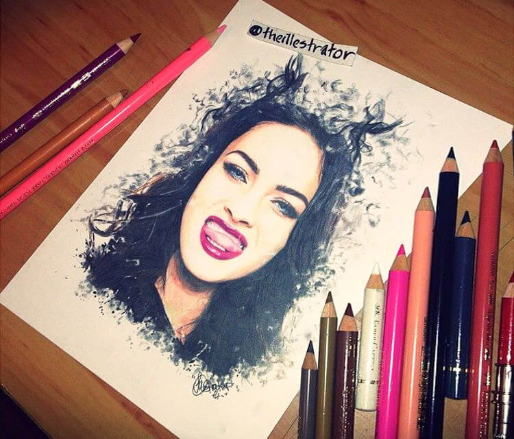 Megan Fox Devilish color drawing by The Illestrator