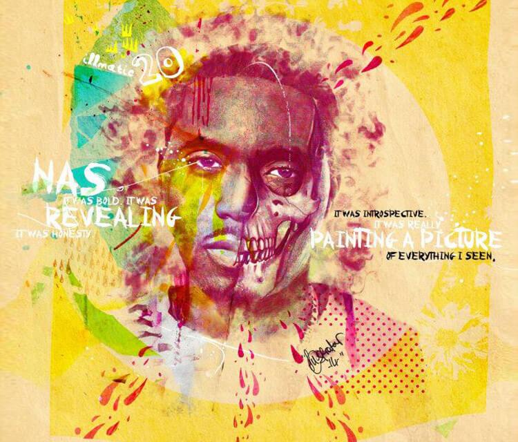 Nas Skull portrait by The illestrator
