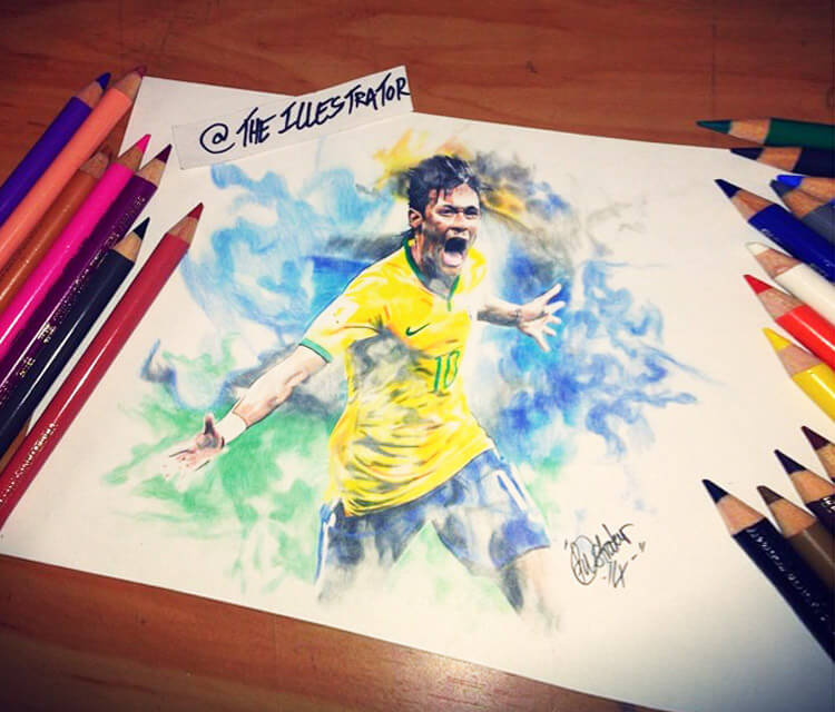 Neymar Jr. drawings by The Illestrator