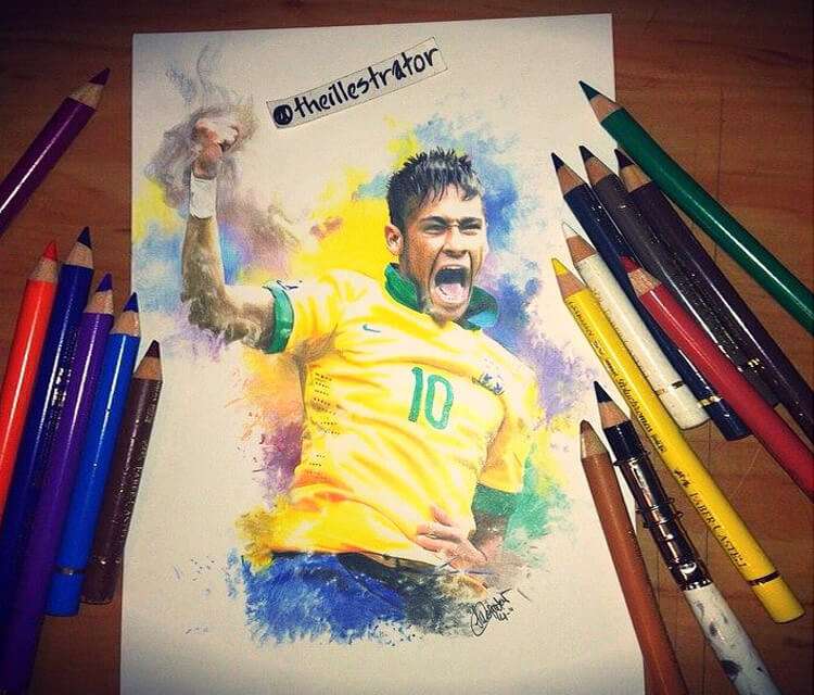 Neymar Jr. color drawing by The Illestrator