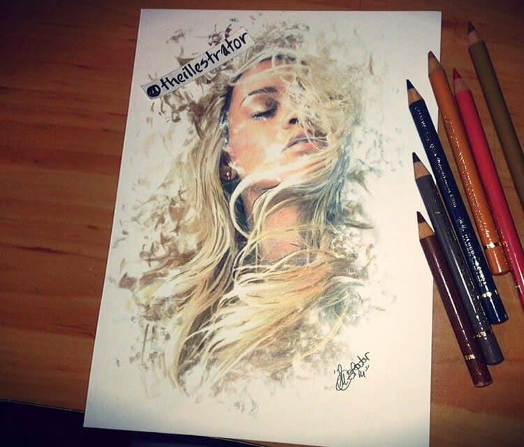 Rihana Blonde color drawing by The Illestrator