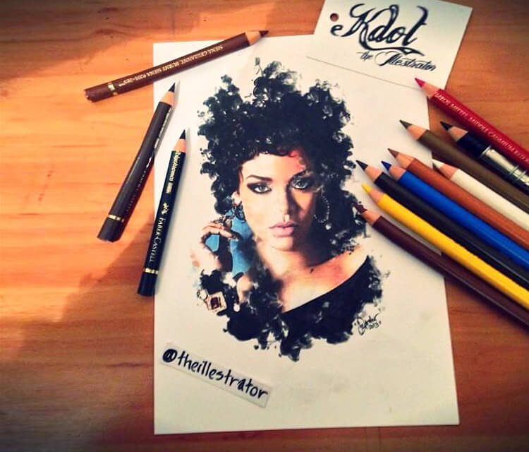 Rihanna Gone Bad color drawing by The Illestrator
