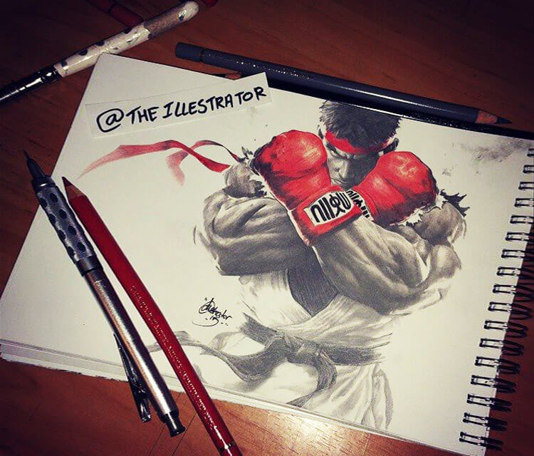 Ryu Street Fighter sketch drawing by The Illestrator