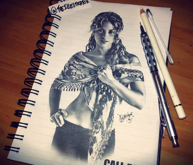 Shakira sketch drawing by The Illestrator