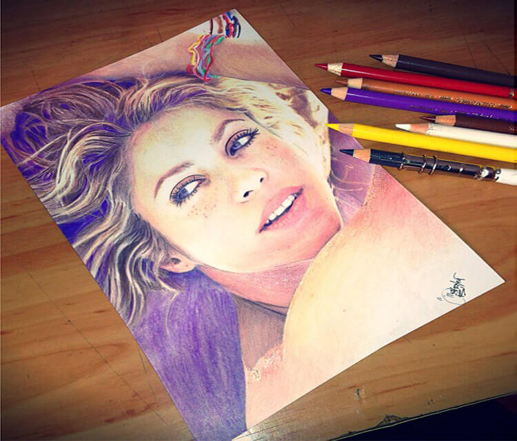 Shakira portrait color drawing by The Illestrator
