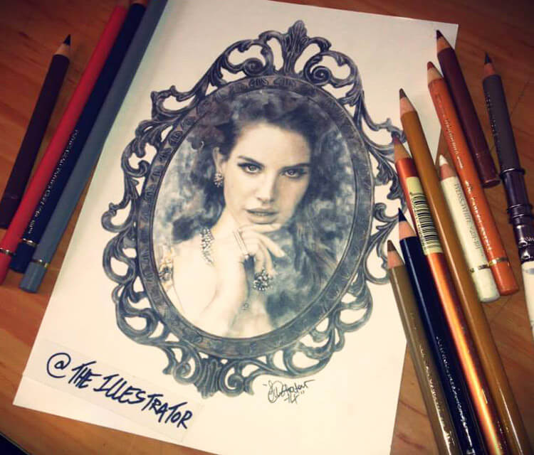 Vintage Lana Del Rey drawing by The Illestrator