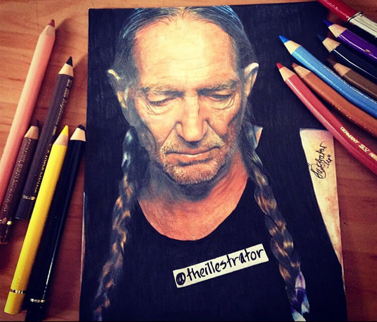 Willie Nelson color drawing by The Illestrator