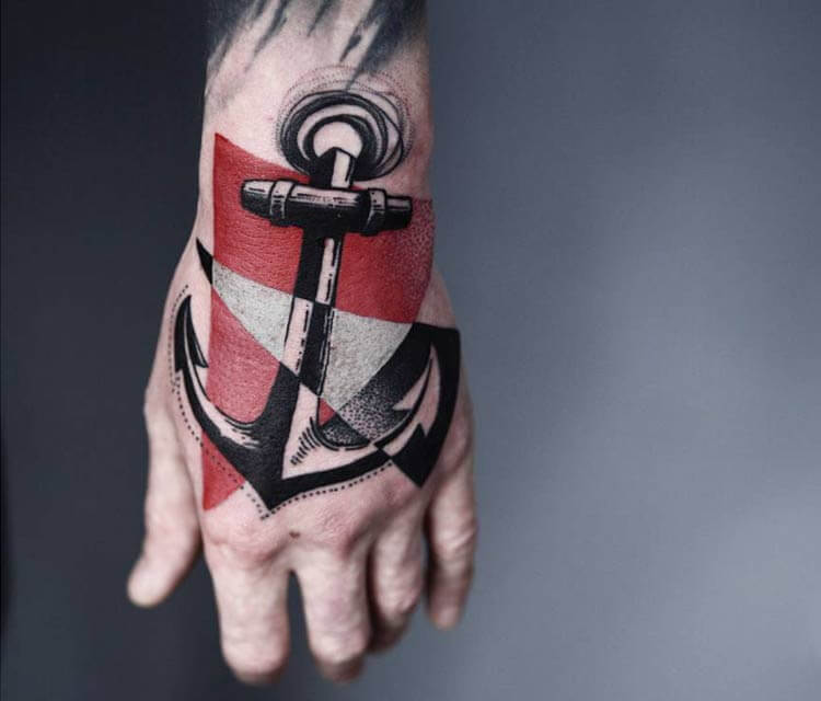 Anchor hand 2 tattoo by Timur Lysenko