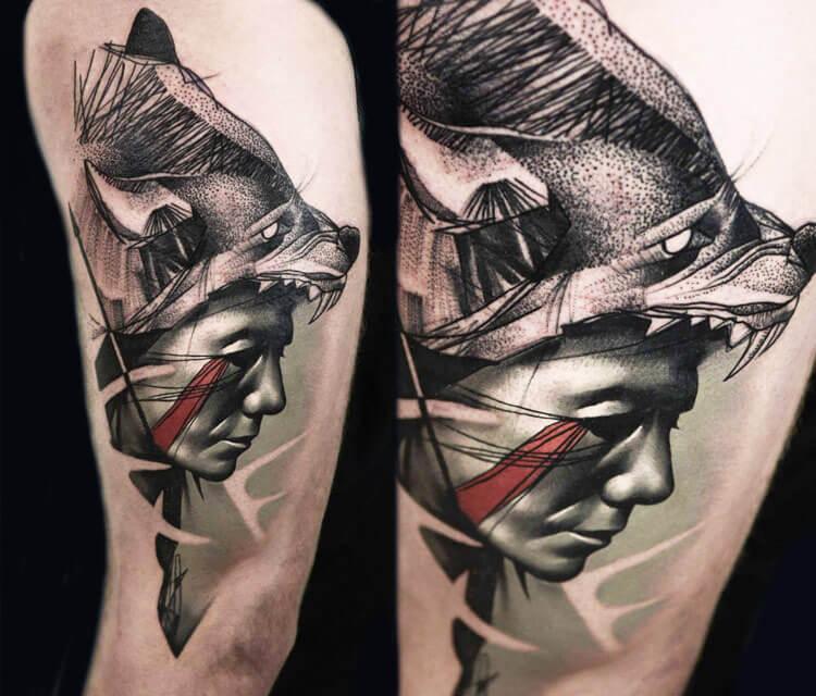 Bear Woman tattoo by Timur Lysenko