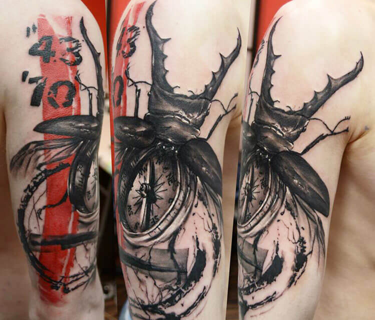Beetle and compass tattoo by Timur Lysenko