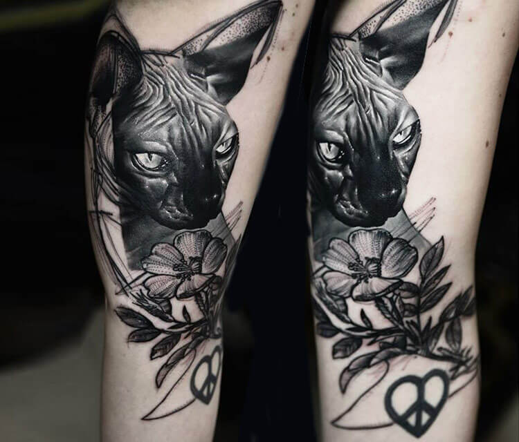Cat with flower tattoo by timur lysenko no 1397 for Cat asshole tattoo