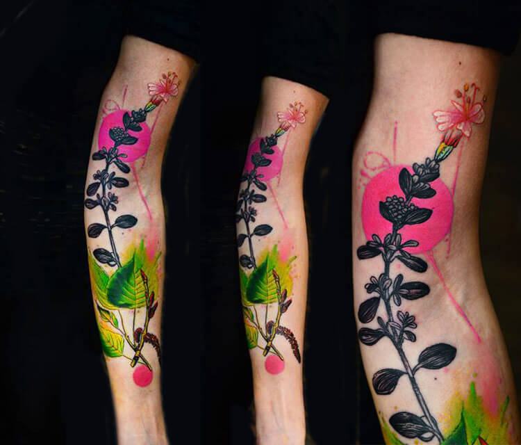 Color plant tattoo by Timur Lysenko