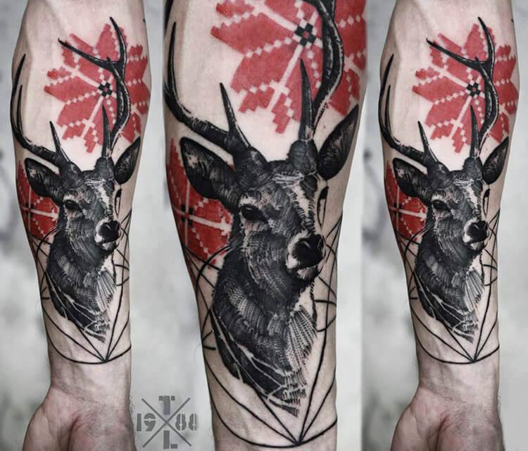 Deer tattoo by Timur Lysenko