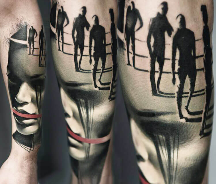 Face and Figures tattoo by Timur Lysenko