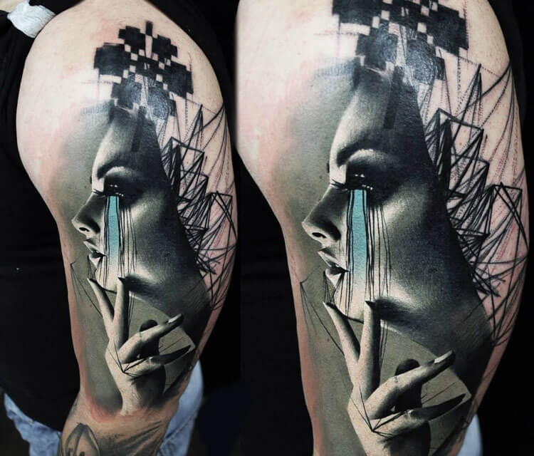 Face and lines tattoo by Timur Lysenko