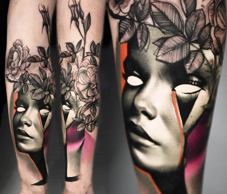 Face and Plants tattoo by Timur Lysenko