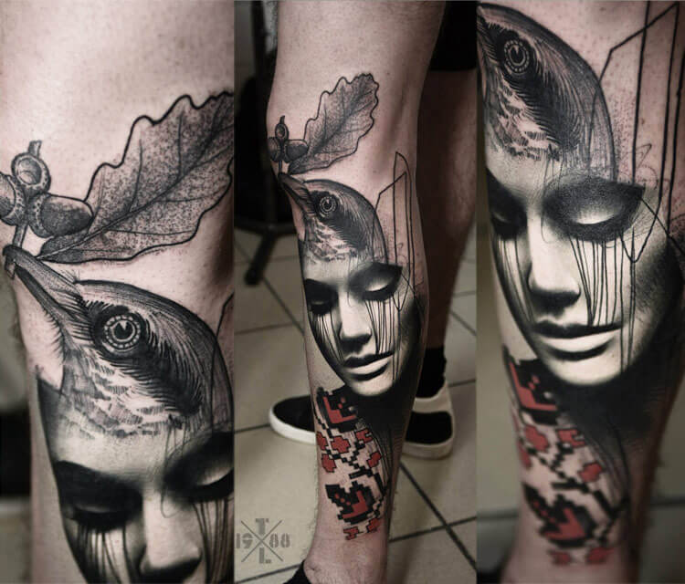 Face with bird tattoo by Timur Lysenko