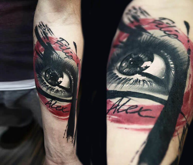 Filip Alex eye tattoo by Timur Lysenko