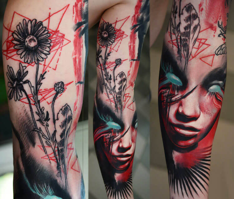 Flower and face tattoo by Timur Lysenko