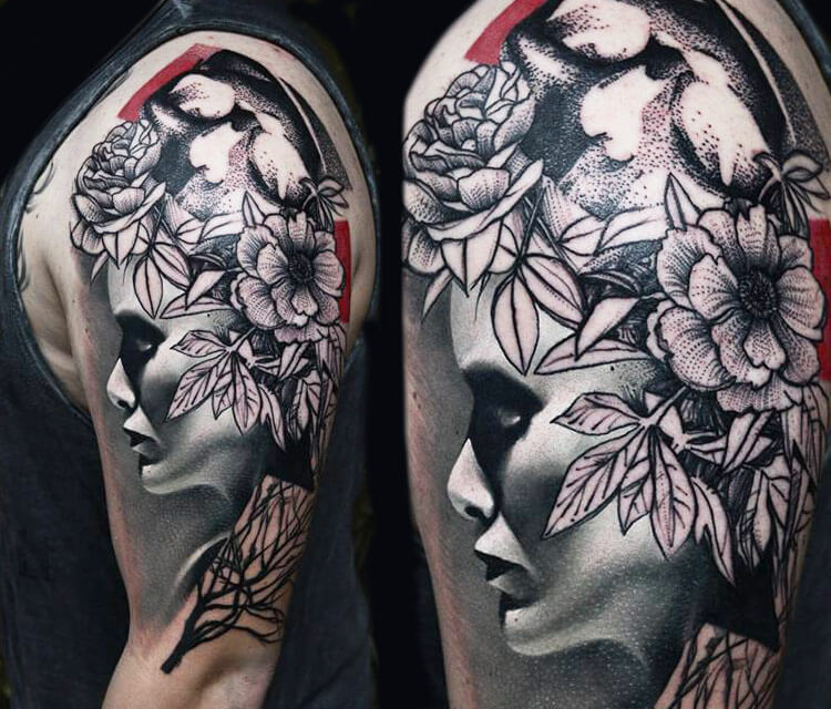 Flowers face tattoo by Timur Lysenko