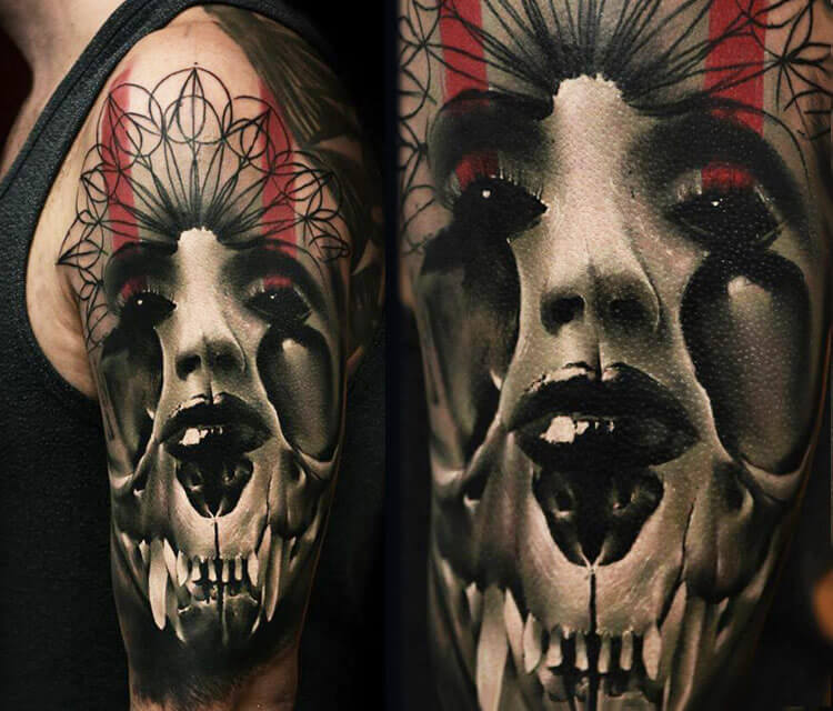 Horror face with skull tattoo by Timur Lysenko