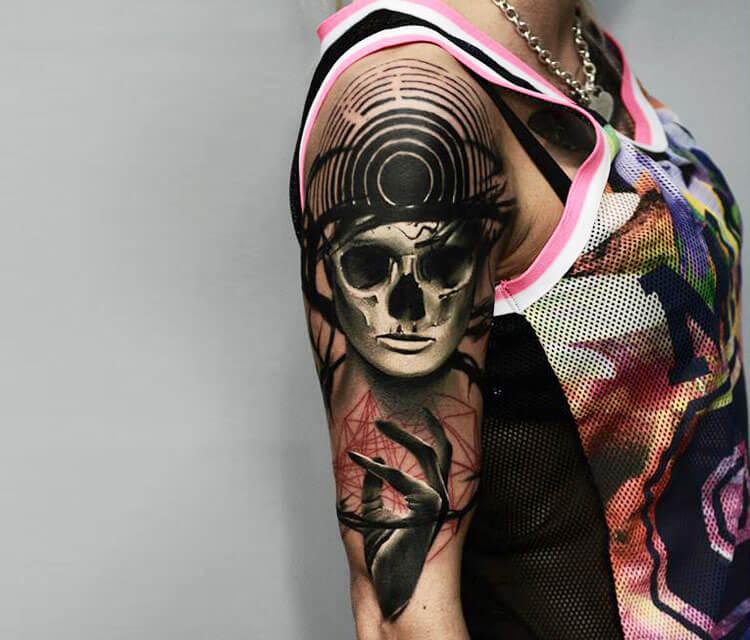Horror skull face tattoo by Timur Lysenko
