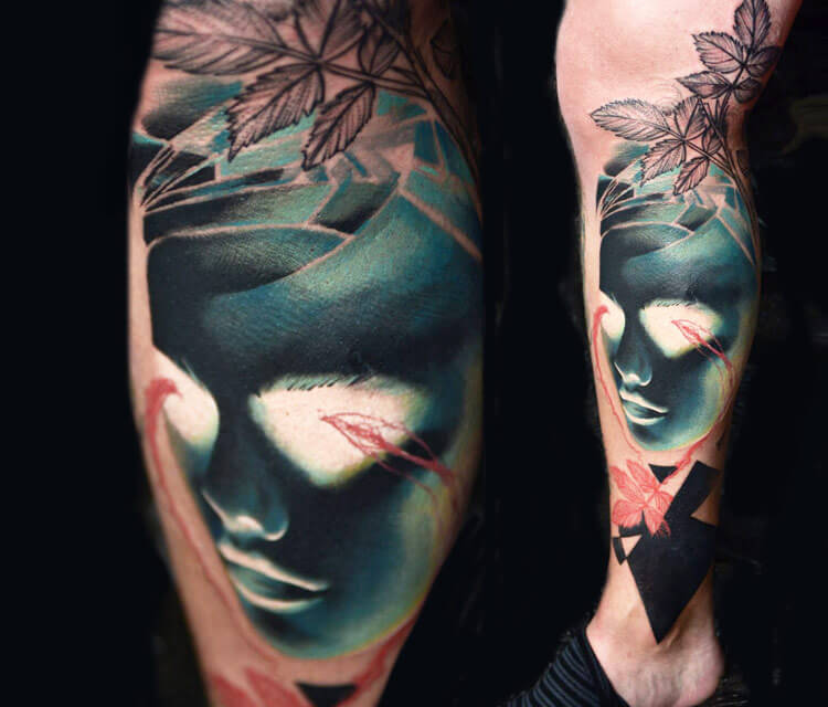 Inverted face tattoo by Timur Lysenko