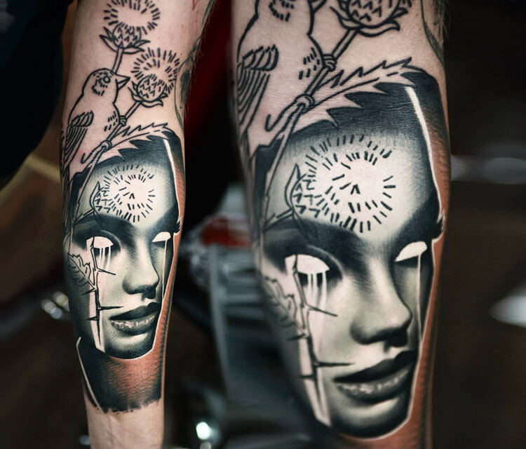 Inverted face 2 tattoo by Timur Lysenko