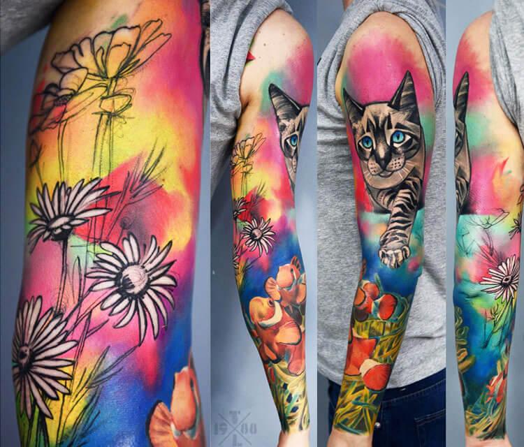 Nature and cinemas tattoo by Timur Lysenko