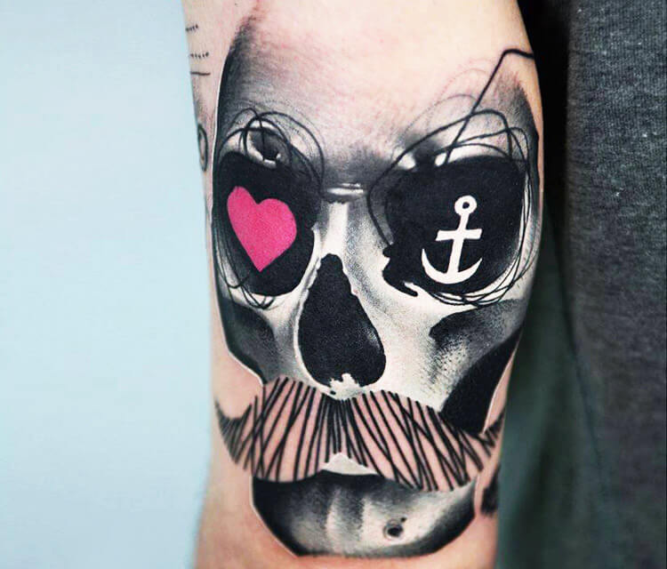 Nautical trash skull tattoo by Timur Lysenko