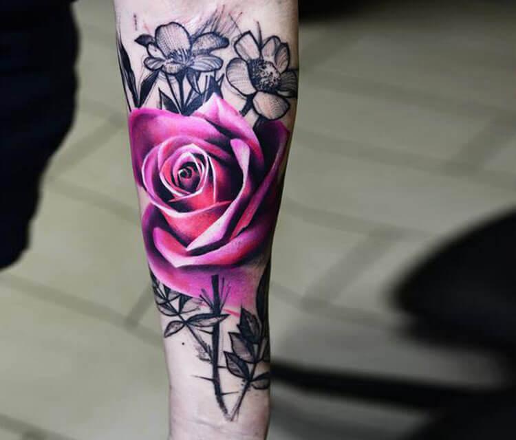 Pink rose tattoo by timur lysenko no 1492 pink rose tattoo by timur lysenko mightylinksfo