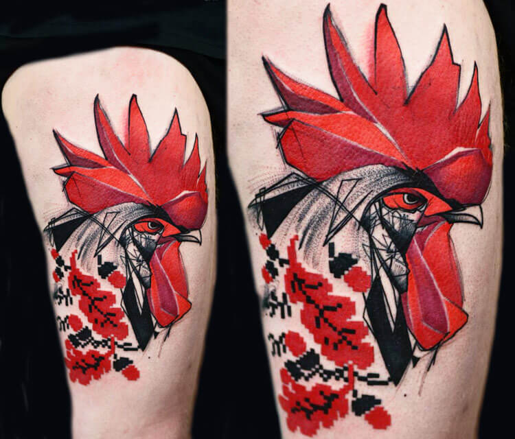 Red cock tattoo by Timur Lysenko