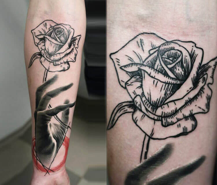 Rose and hand tattoo by Timur Lysenko