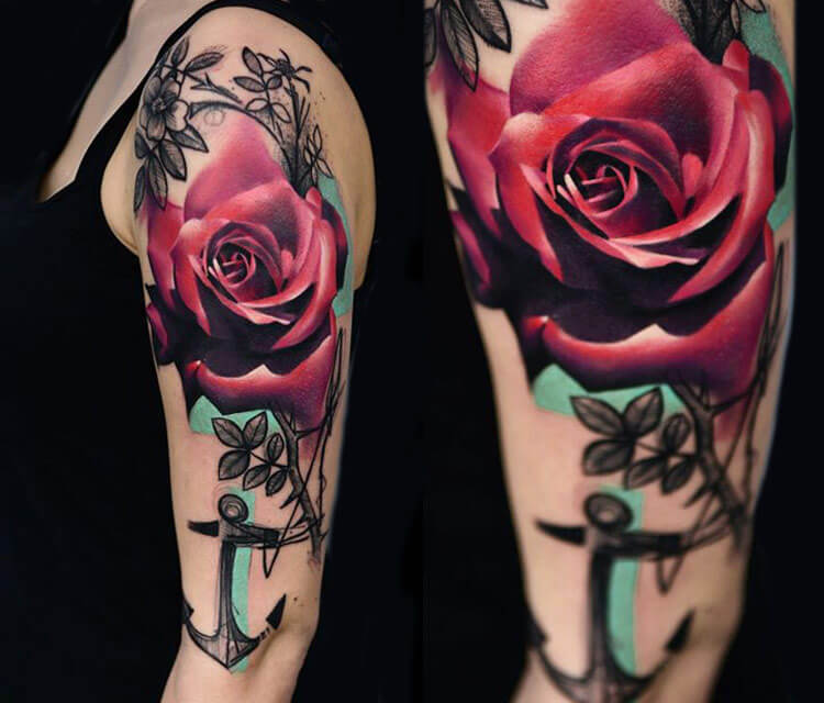 Rose flower tattoo by Timur Lysenko