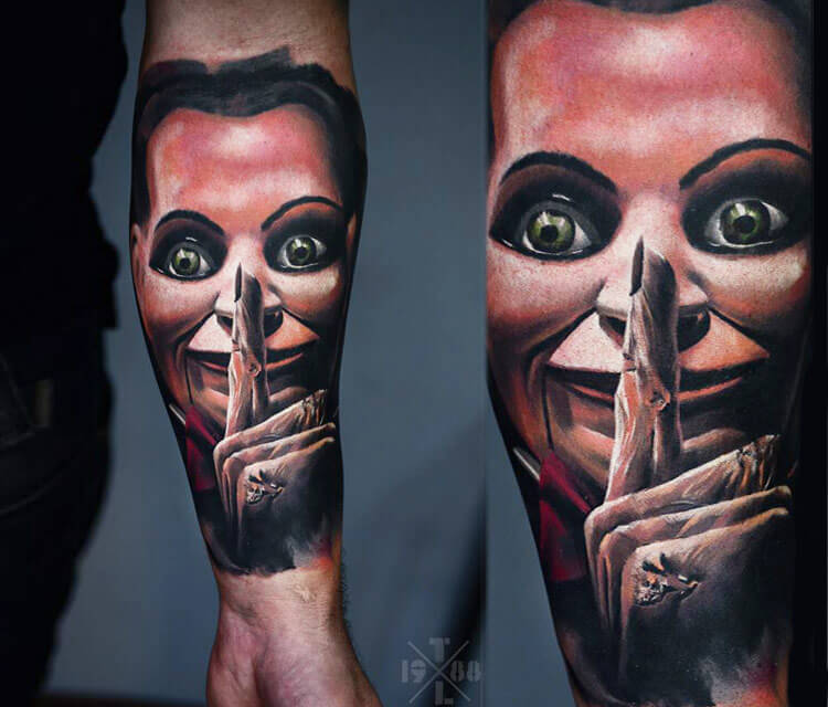 Silence face tattoo by Timur Lysenko