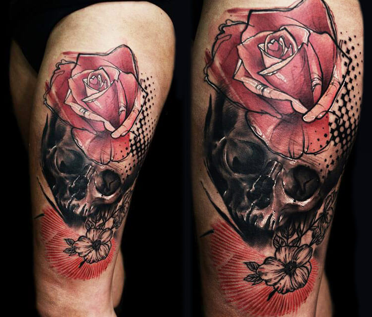 Skull and rose tattoo by Timur Lysenko