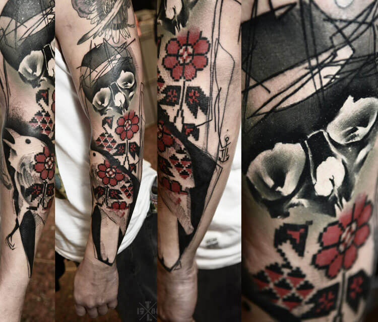 Trash arm tattoo by Timur Lysenko
