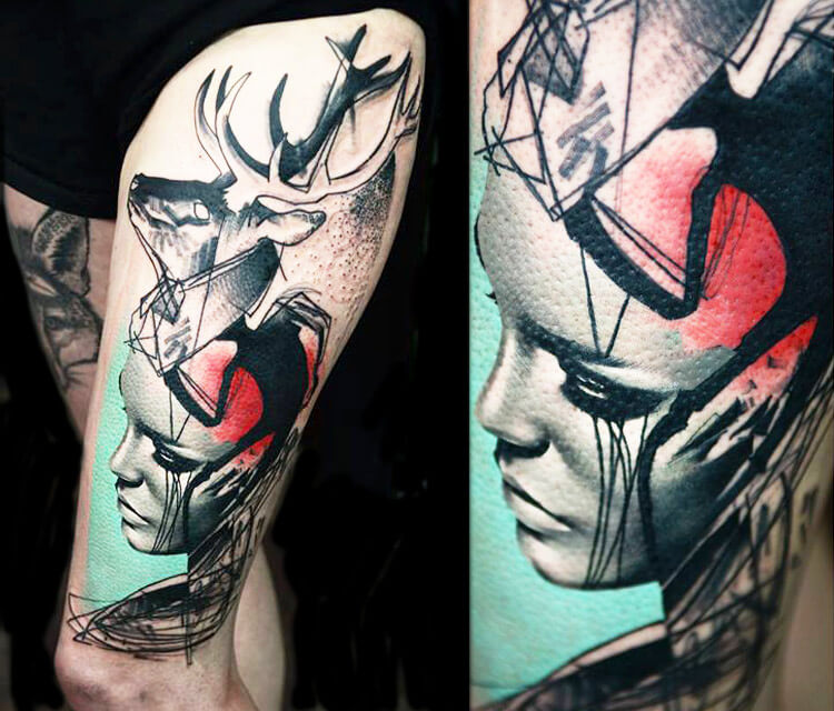 Trash face 2 tattoo by Timur Lysenko