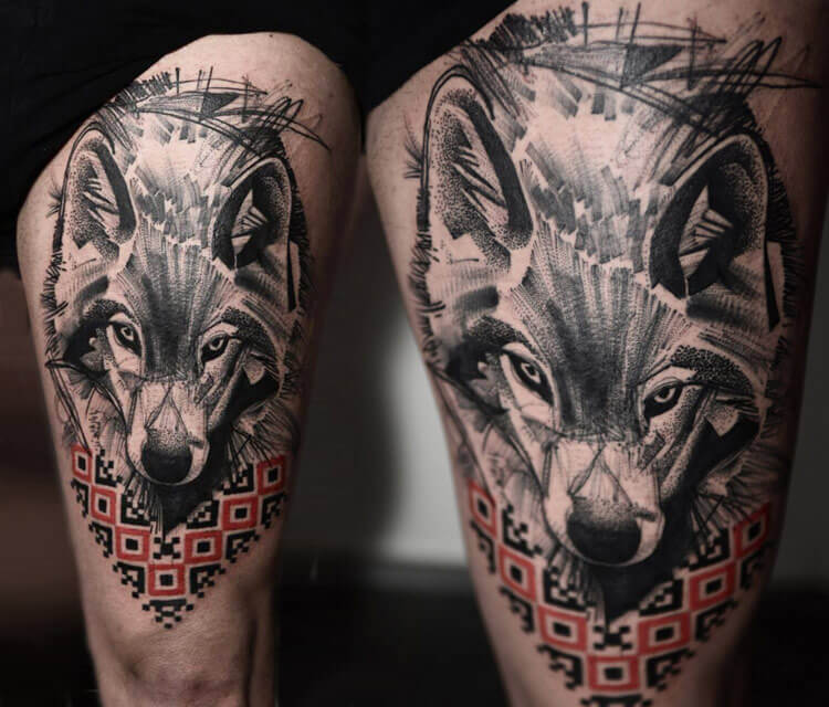 wolf tattoo by Timur Lysenko
