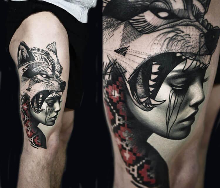 Wolf woman tattoo by Timur Lysenko