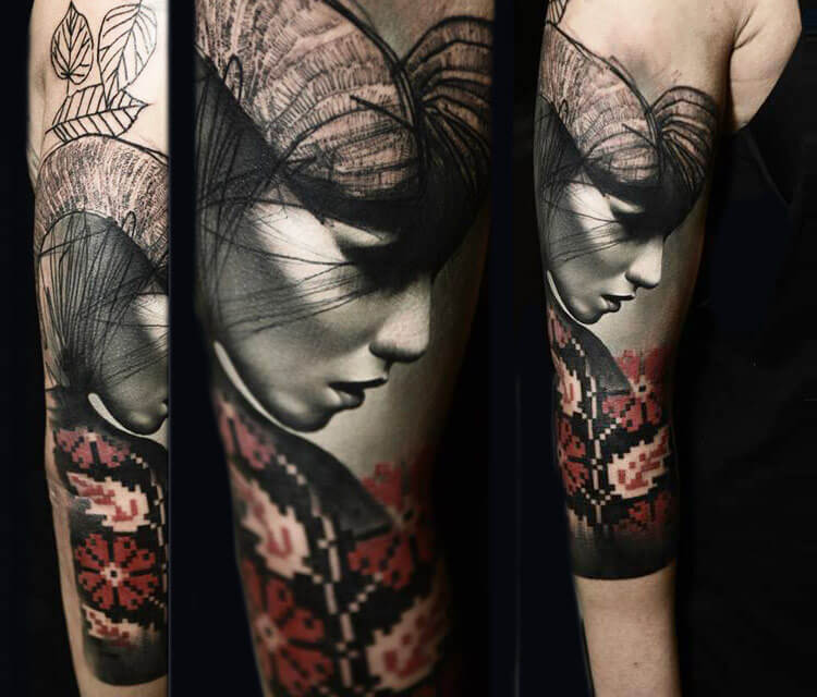 Woman Face Tattoo By Timur Lysenko